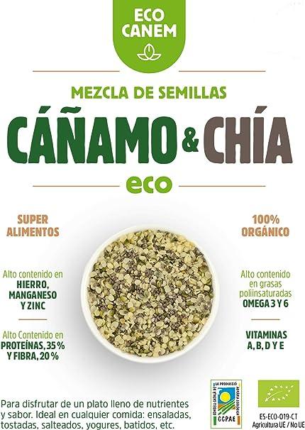 Semillas peladas de cáñamo con chía ECO. 100% Vegano. Really Raw. 200 g.