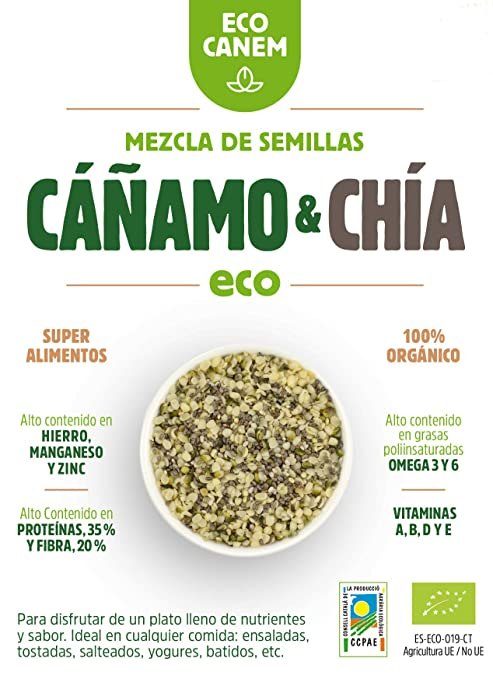 Semillas peladas de cáñamo con chía ECO. 100% Vegano. Really Raw ...