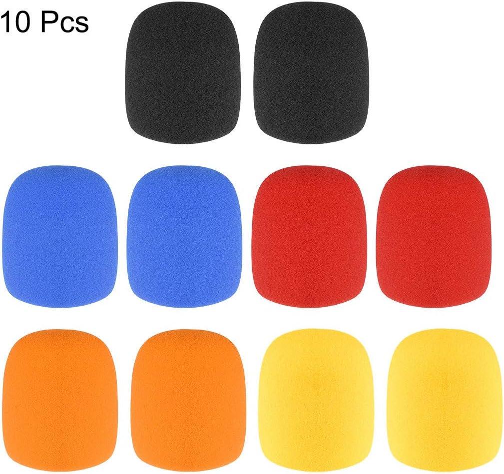 uxcell 10 Pcs Thicken Sponge Foam Mic Cover Handheld Microphone Windscreen Kit for KTV