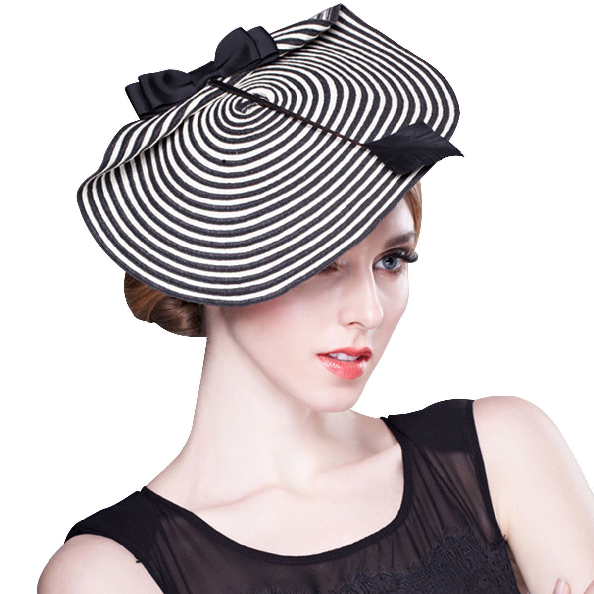 dfce3e4a3bc Womens Chic Straw Arrow Fascinator Cocktail Saucer Hat Royal Ascot Wedding  A003 (Black and White)(Size  One Size)  Amazon.co.uk  Clothing