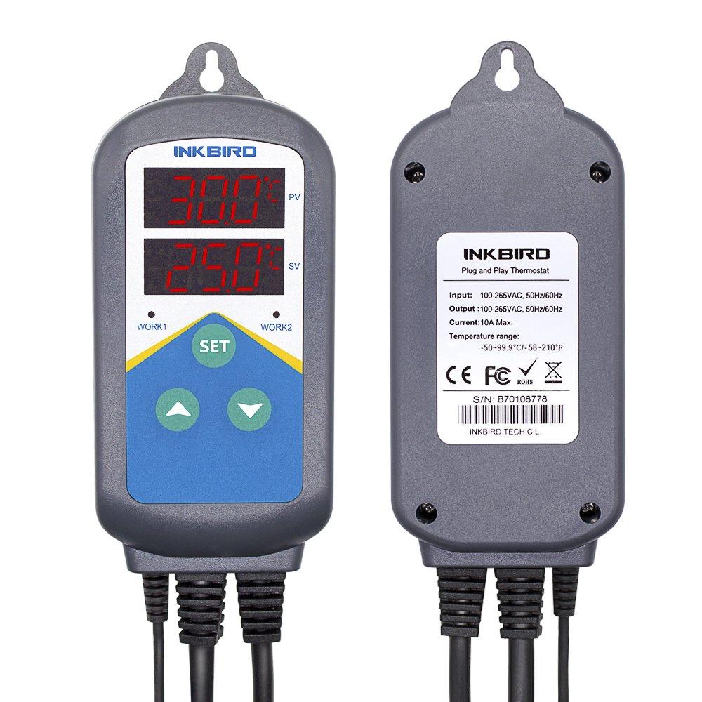 Inkbird ITC-306T Termostato Digital+Sonda de Acuario, Double Relés Control la Temperatura Ranga del Calentador (no refrigeración), Adecuado para ...
