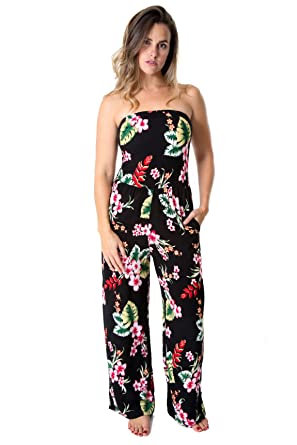 8188a4f2ca Amazon.com  Uluwatu Collection Womens Floral Jumpsuit and Swim Suit Cover  up (Black)  Clothing