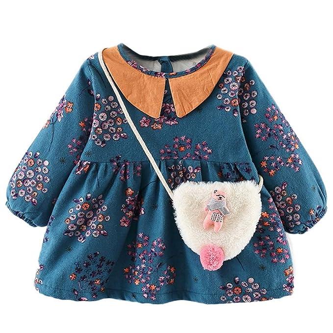 feiXIANG Conjunto de Ropa Infantil de Manga Larga con Estampado Floral de Encaje Lateral más Terciopelo Grueso Vestido de Princesa Vestido + Conjunto de ...