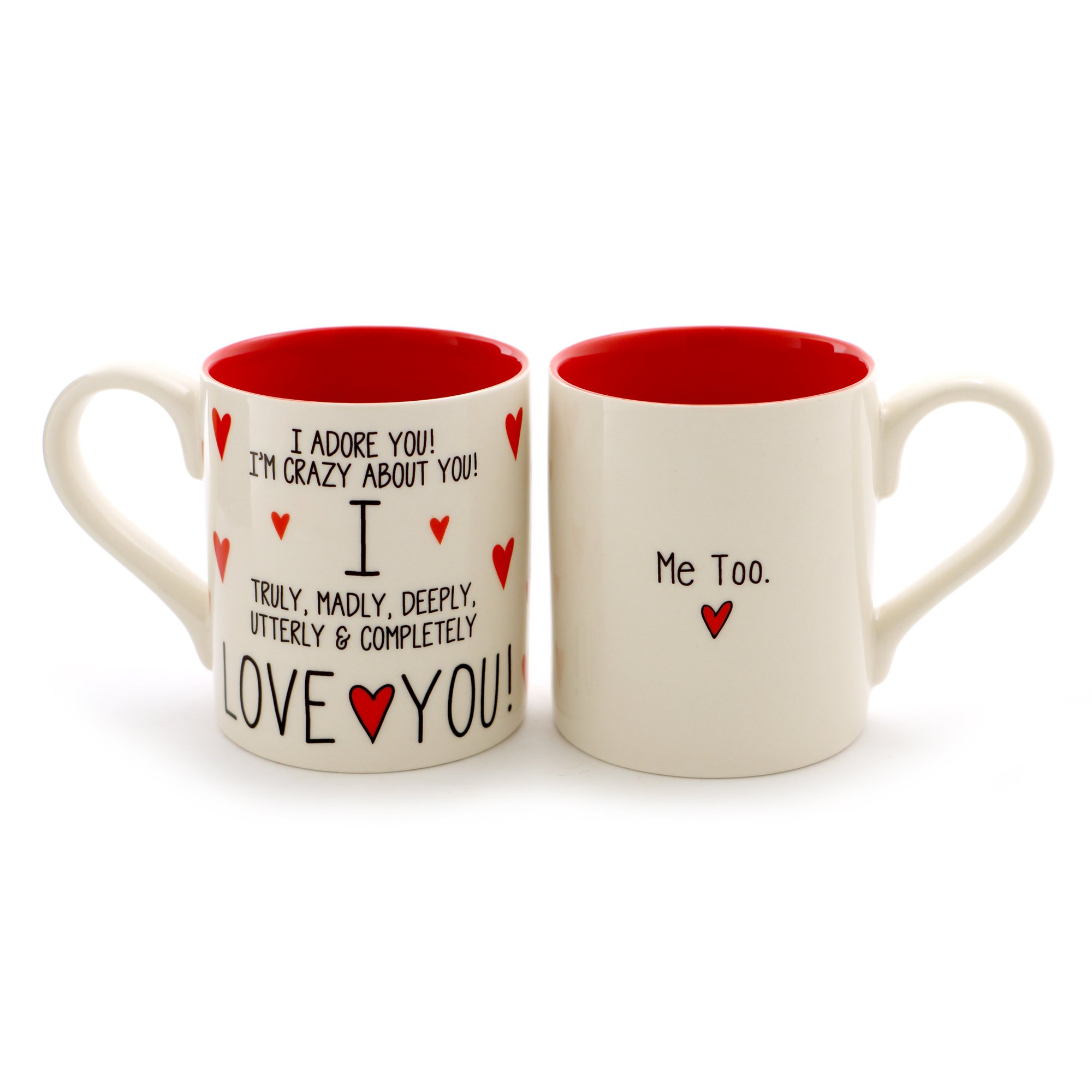"Enesco 6000504 Our Name Is Mud ""I Love You, Me Too"" Stoneware Mug Set, 12 oz, Red"