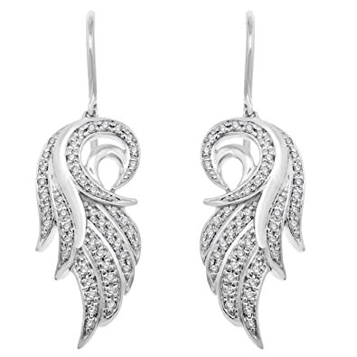 d9ed1a8e2dd53 Amazon.com: 14K White Gold White Diamond Angel Feather Wing Drop ...