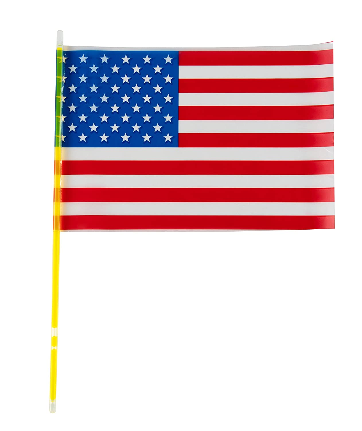 6 Colors Glow Sticks Halloween Goodie Bag Favors Handheld Sized Trick or Treat Toys 12-Pack American Flags Glow in the Dark Sticks Patriotic USA Party Supplies for Election Day Veterans Day