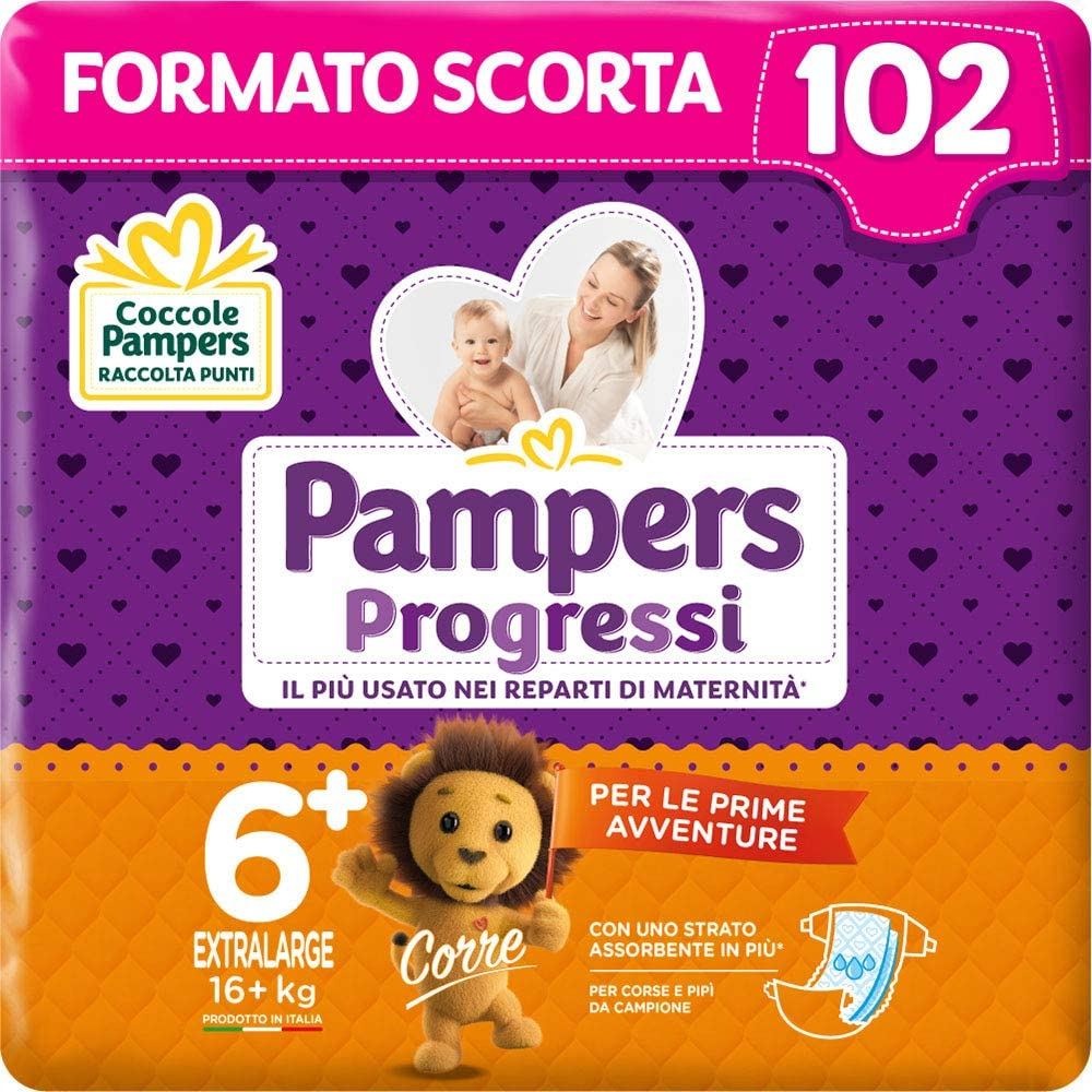 Pampers Progressi Extra Large 102 Nappies, Size 6+ (16+ kg)