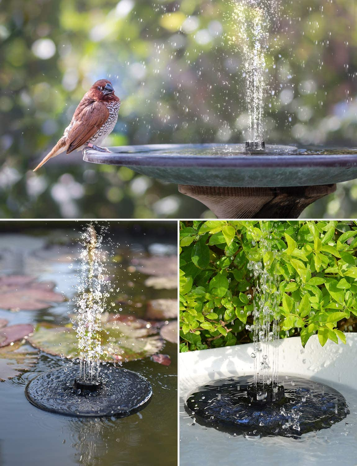 OKMEE Upgraded Solar Fountain with 4-in-1 Nozzle, 2.2W Solar Birdbath Fountain with 4 Different Water Spray Patterns for Bird Bath, Fish Tank and Pond Garden Decoration 81ul-MWM3OL
