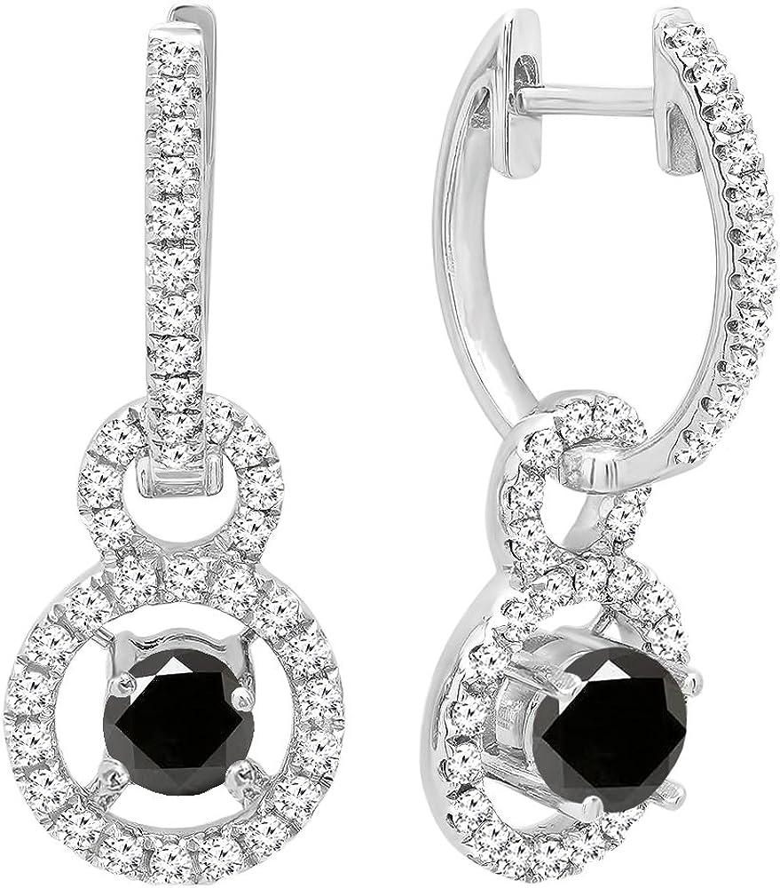 DazzlingRock Collection 18k Oro Corte Redondo Piedras Preciosas y Diamantes Mujer halo Colgando Pendientes Negro-Zafiro