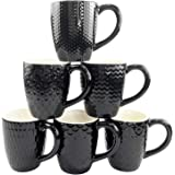 Schliersee Black Ceramic Coffee Mugs Set of 6, Stylish Embossed Coffee Cups Set with Different Patterns, 13.5 Ounce, for…