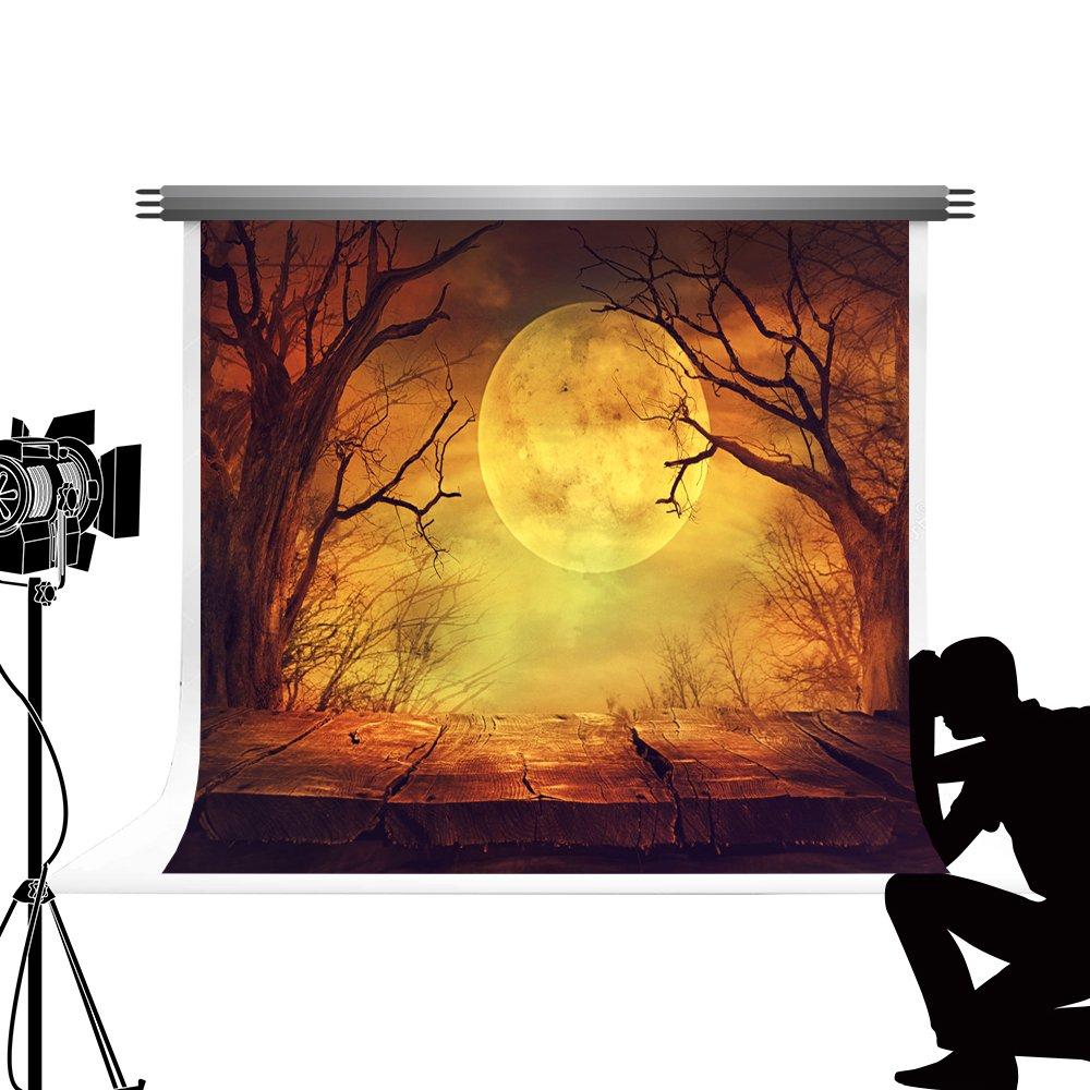 Kateフォトスタジオ背景ハロウィンフォレストムーン木製フロアハロウィンパーティー10×10フィート/ 3×3メートル   B07F33DCZV