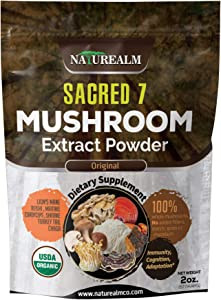 Sacred 7 Mushroom Extract Powder - USDA Organic - Lion's Mane, Reishi, Cordyceps, Maitake, Shiitake, Turkey Tail, Chaga - Supplement - Add to Coffee/Tea/Smoothies - Whole Mushrooms - No fillers