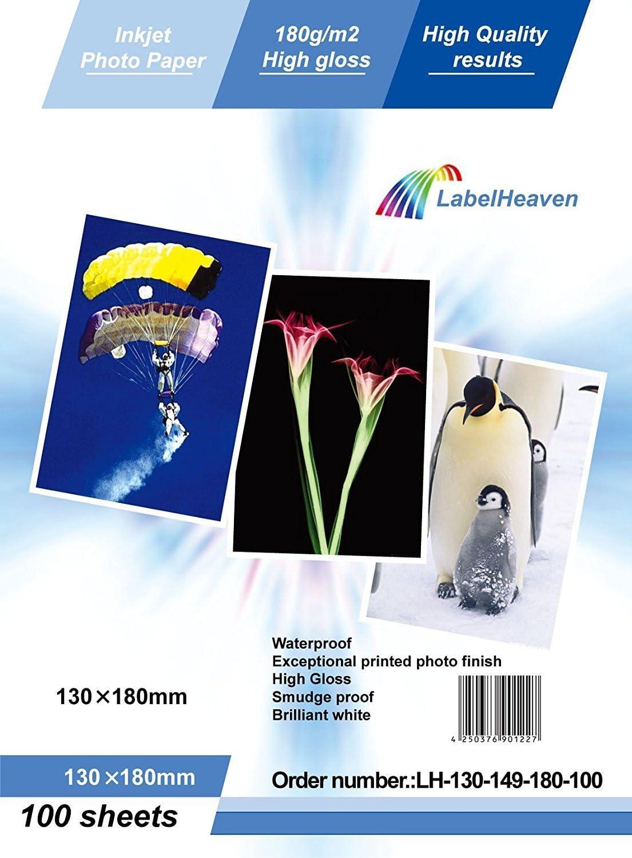 LabelOcean – 100 hojas papel fotográfico 13 x 18 cm (130 x 180 mm ...