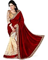 Globalia Creation Women'S Georgette Suit Piece Saree (Gol-3844Eimik_Red)