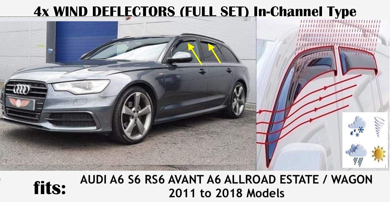 Juego de 4 deflectores de viento OEMM en canal tipo compatible con Audi A6 AVANT S6 RS6 5 PUERTAS ESTATE//WAGON C7 TYP 4G 2011 2012 2013 2014 2015 2016 2017 2018 vidrio acr/ílico viseras laterales