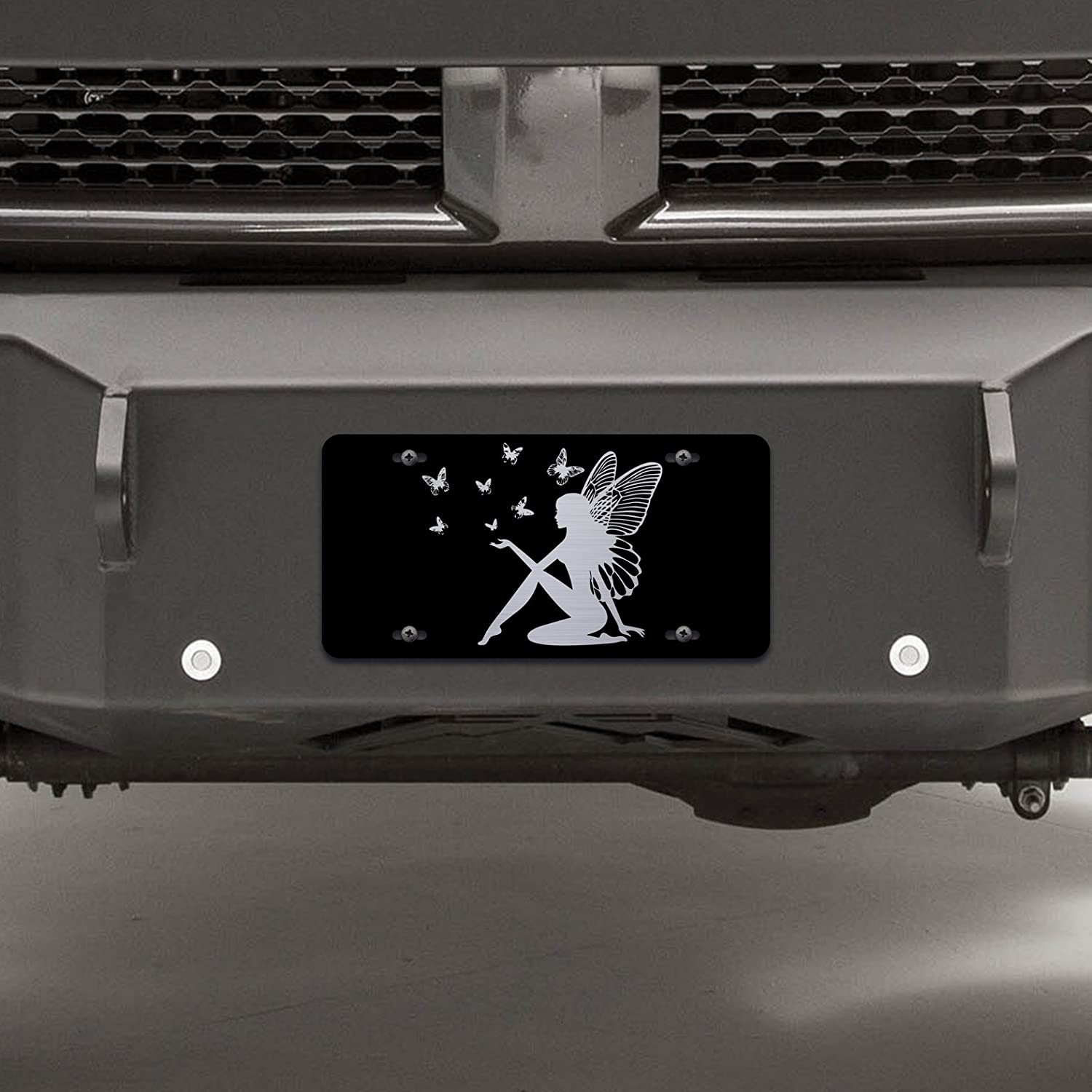 LP023 OGO Premium Quality Vincit Veritas Butterfly Fairy Black Laser Etched License Plate 12-Inch By 6-Inch Tinkerbell Tinker Bell
