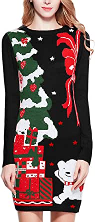 v28 Varied Ugly Christmas Sweater for Women Funny Reindeer Knit Sweaters Dress