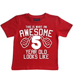Edward Sinclair This What An Awesome 5 Year Old Looks Like Red Boys 5th Birthday T