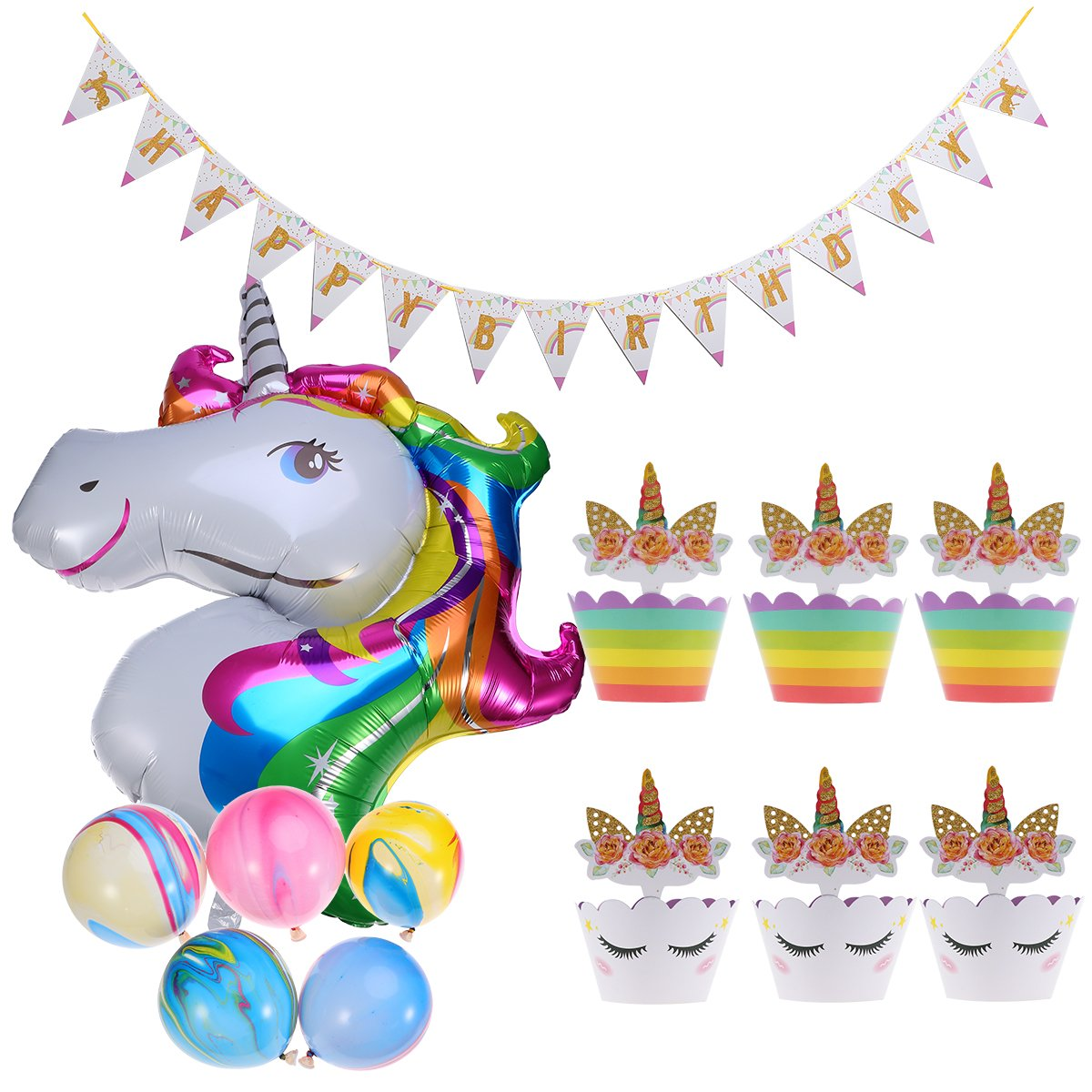 BESTOYARD Birthday Party Decoration Balloons Banners Garland Cake Toppers Wrappers Set