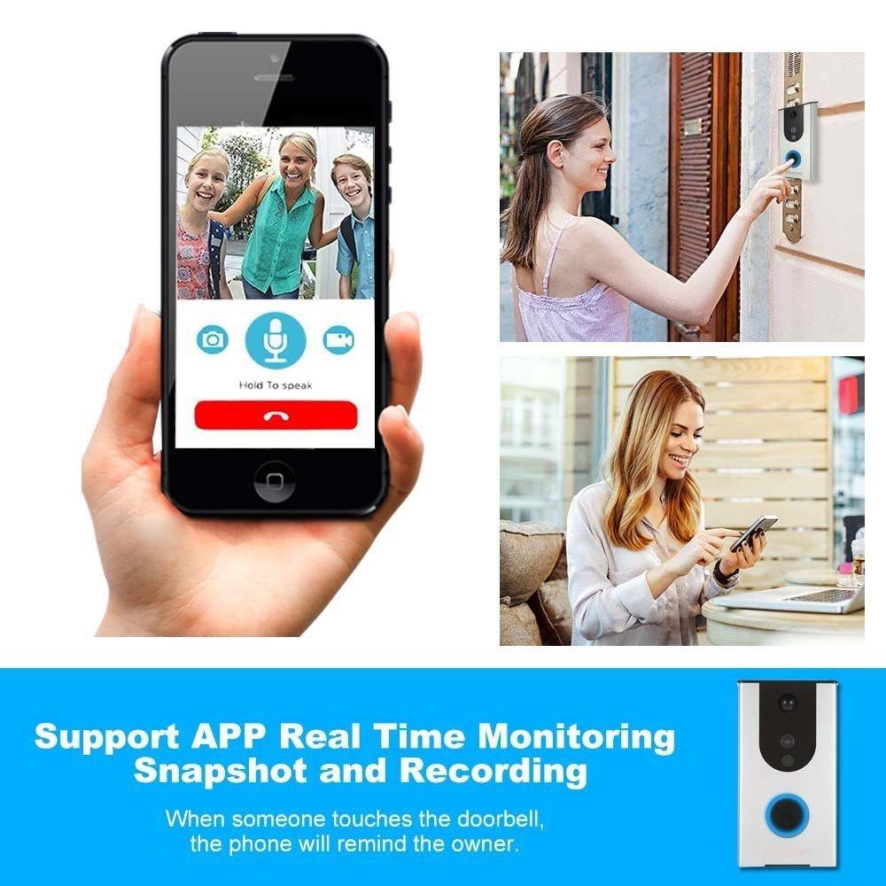 Wireless Doorbell Camera Wifi Remote Video Door Intercom Ir Security Iphone Chime Wiring Diagram Bell Phone Business Industry Science