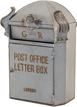 Grey Metal Decorative Mailbox Letter Box Antique Style Heavily Distressed Mail