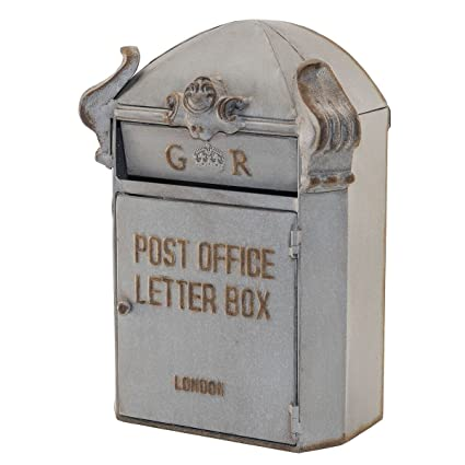 Antique Style Heavily Distressed Grey Metal Decorative Mailboxu0026quot;Post  Office Letter Boxu0026quot; ...