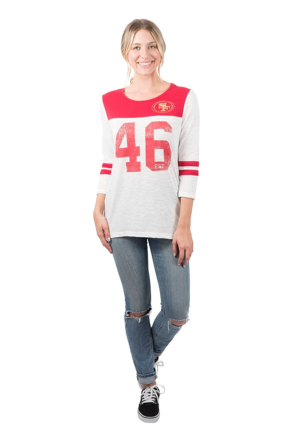 detailed look 9695a bdf02 Ultra Game NFL San Francisco 49ers Women's Vintage 3/4 Long Sleeve Tee  Shirt, White, X-Large