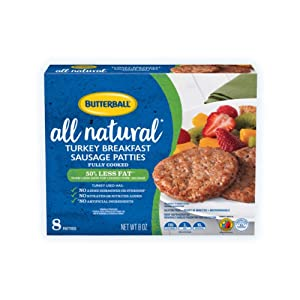 Butterball, All Natural Fully Cooked Breakfast Sausage Patties, 0.5 lb