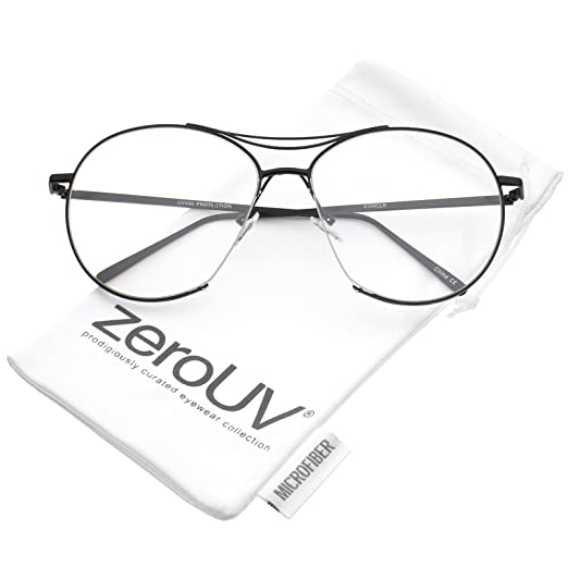 72a4680db28c1 Amazon.com  zeroUV - Oversize Semi-Rimless Brow Bar Round Clear Flat Lens  Aviator Eyeglasses 59mm (Black Clear)  Clothing