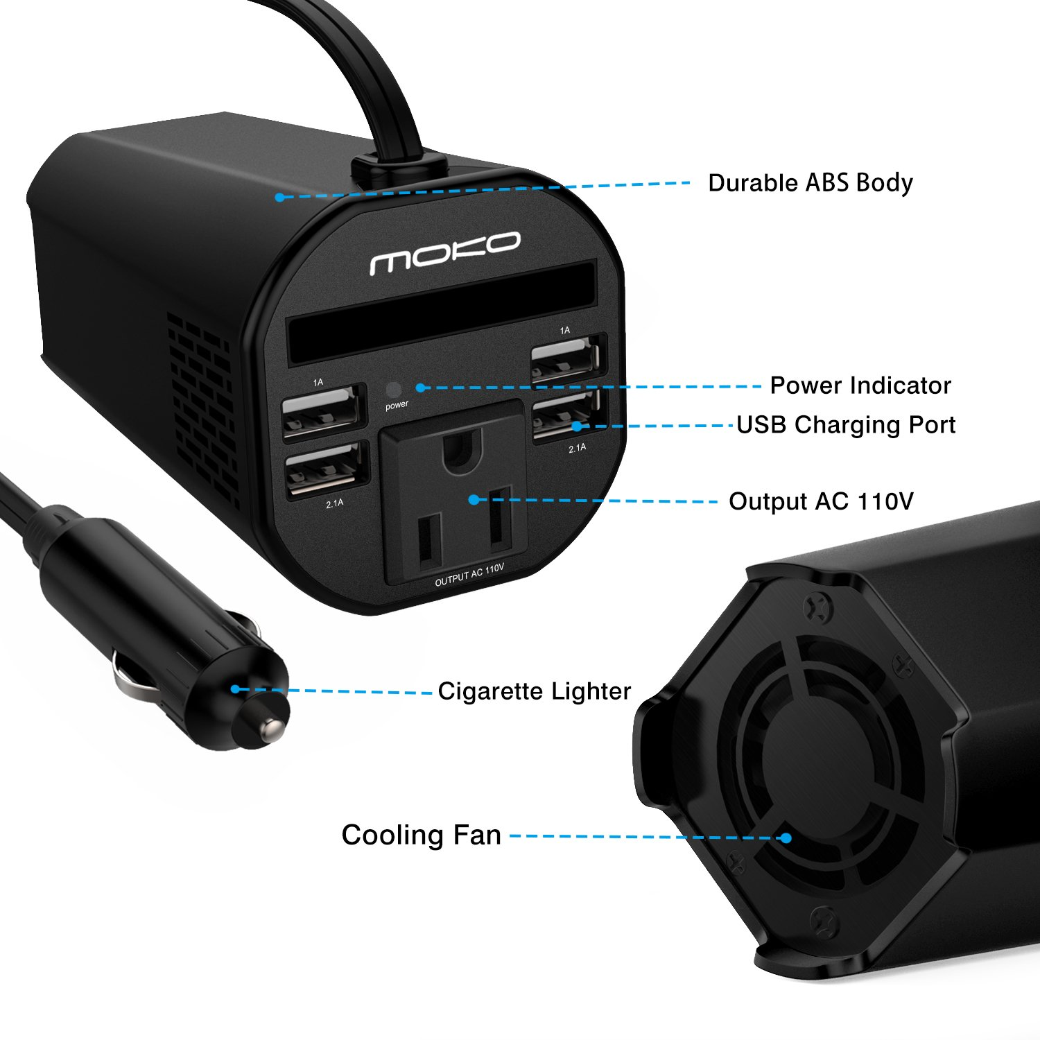 MoKo 150W Car Power Inverter, DC 12V to 110V AC Outlet Cup Holder Converter Adapter, with 4 USB Port Charger, for iPhone X/8/8 Plus, MacBook, iPad Pro, Chromebook, Galaxy S8 and etc. (Black) by MoKo (Image #3)