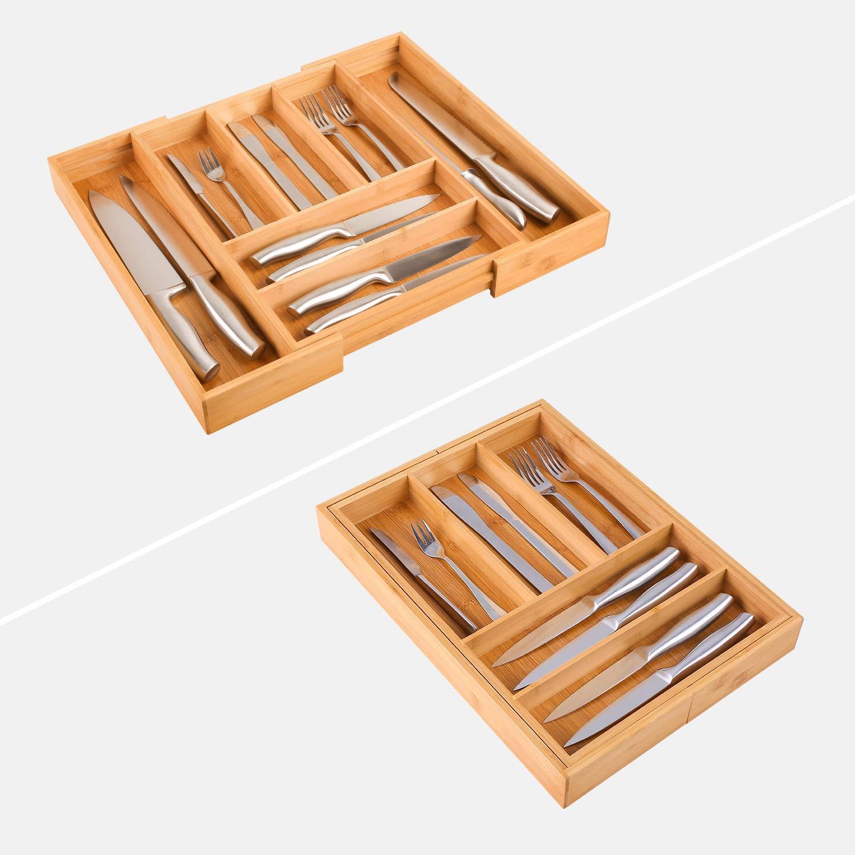 Homfa Bandeja para Cubiertos Organizador para Cubiertos Portacubiertos con 7 Compartimientos de Bambú (30-48) x40x5cm