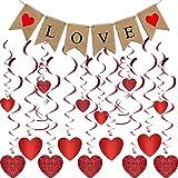 Valentine's Day Decoration - Valentine's Day Glitter Heart Swirl Hanging Decoration & Love Banner Burlap for Bridal Shower, E