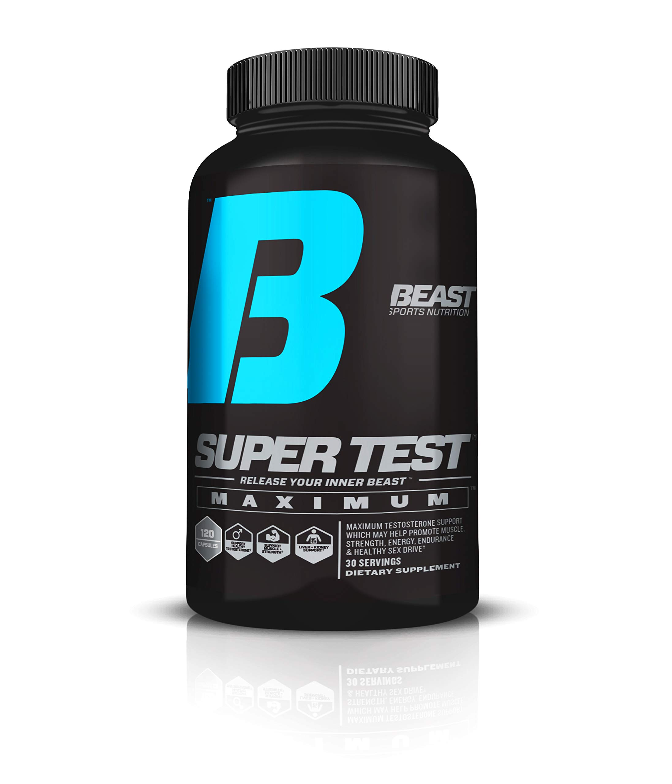 Beast Sports Nutrition - Super Test Maximum Caps - Ultra-Premium All-Inclusive Test Booster - Supports Your Natural Test Levels - Clinical Dosage w/KSM-66, Furostan, S7 & PrimaVie - 120 Capsules by Beast Sports Nutrition (Image #1)