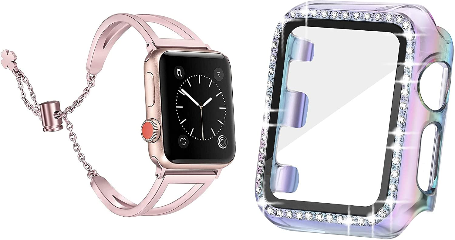 Secbolt 38mm Translucent Colorful Bling Case with Screen Protector and Rose Gold Dressy Bangle for Apple Watch 38mm iWatch Series 3/2/1