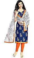 Great Indian Festival Dress Materials for women Designer Party Wear Today Offer Low Price Sale Top Blue Color Cotton Fabric Free Size Salwar Suit