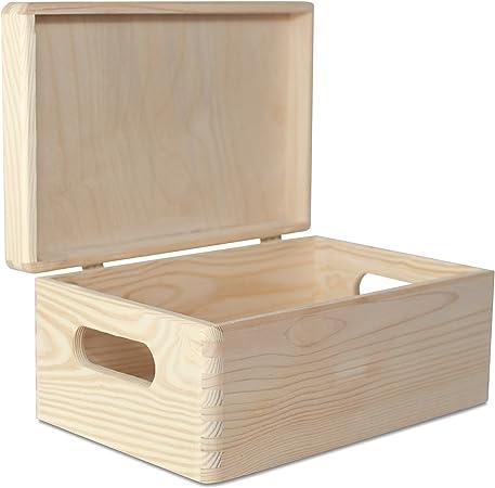 Creative Deco Grande Caja Madera para Decorar | 30 x 20 x 14 cm (+/-1cm) | con Tapa y Asas | Cofre Decoración Decoupage | para Almacenar Documentos, Objetos de Valor, Juguetes, Herramientas: Amazon.es: Hogar