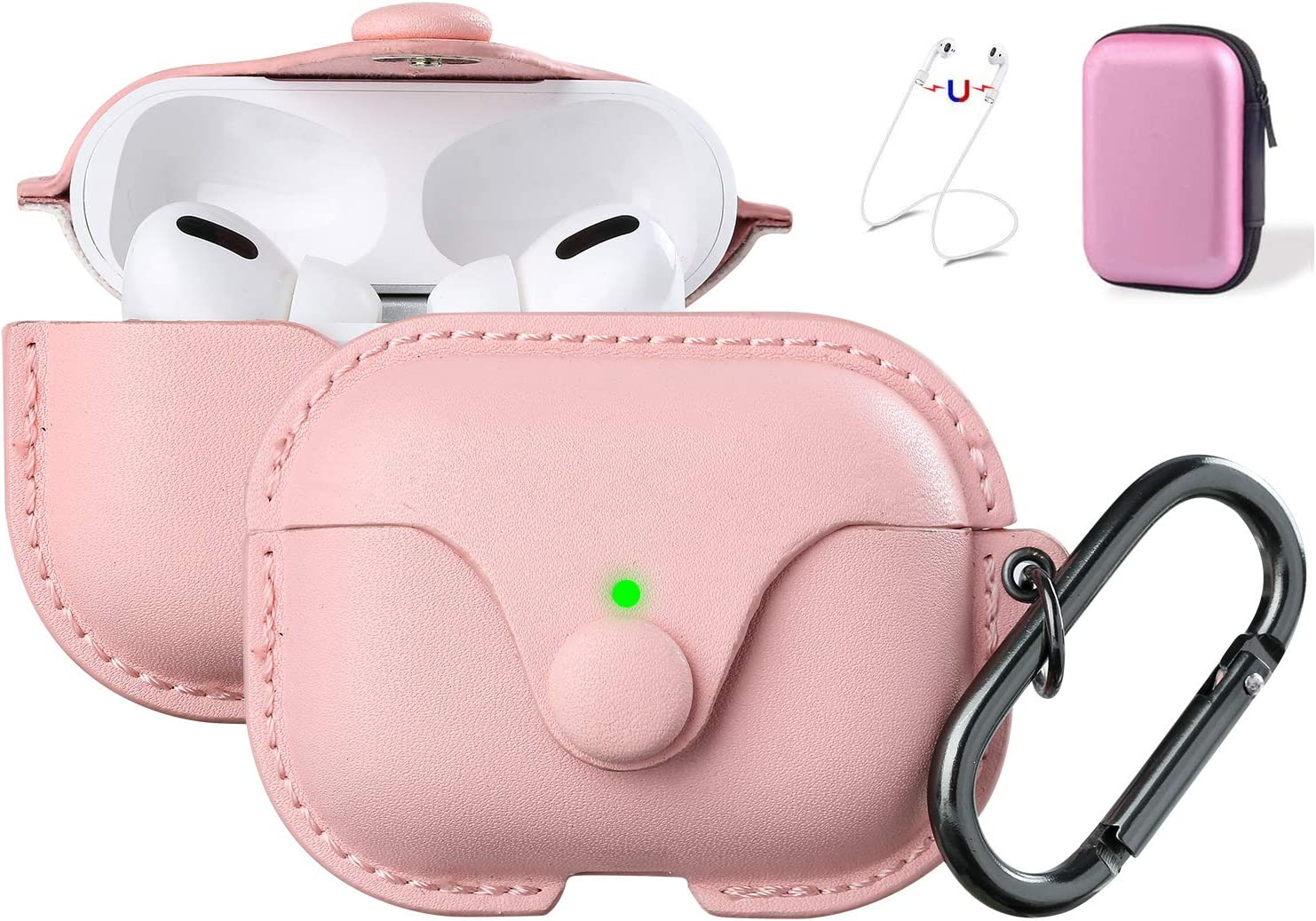 Maxjoy Compatible Airpods Pro Case Cover, Airpods 3 Leather Case Protective Cover with Keychain Airpods Strap Compatible with Apple Airpods Pro Charging Case 3rd Gen 2019 (Front LED Visible), Pink