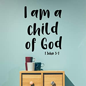 "Vinyl Wall Art Decal - I Am A Child of God 1 John 3:1-30"" x 23"" - Religious Spiritual Faith Home Decor Wall Decals - Christianity Inspirational Words Bible Decorative Removable Stickers"