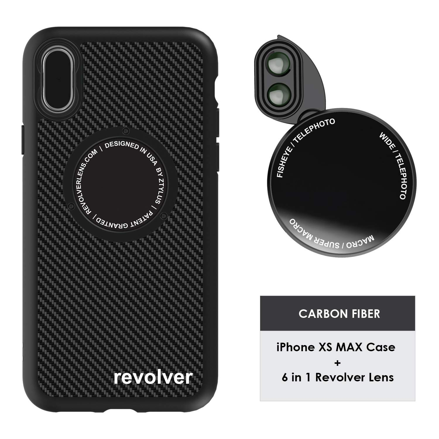 Ztylus Designer Revolver M Series Camera Kit: 6 in 1 Lens + iPhone Xs MAX Case, Smartphone Lens Kit Accessory- 2X Telephoto Lens, Macro/Super Macro Lens, Fisheye/Wide Angle Lens (Black Carbon Fiber) by Ztylus