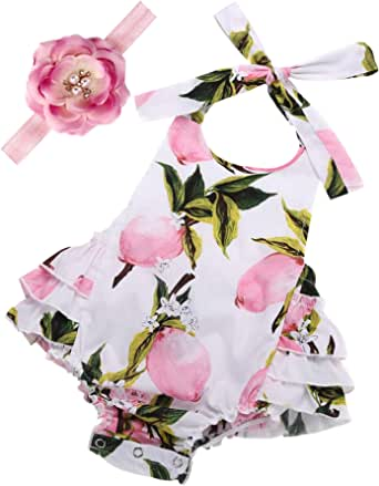 Baby Girl's Floral Print Ruffles Romper Summer Clothes with Headband