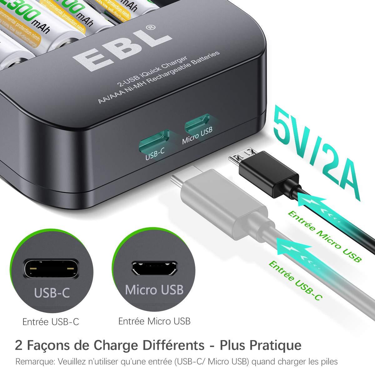 EBL iQuick Chargeur Super Rapide de Piles Rechargeables Ni-MH AA/AAA avec Port USB et USB C