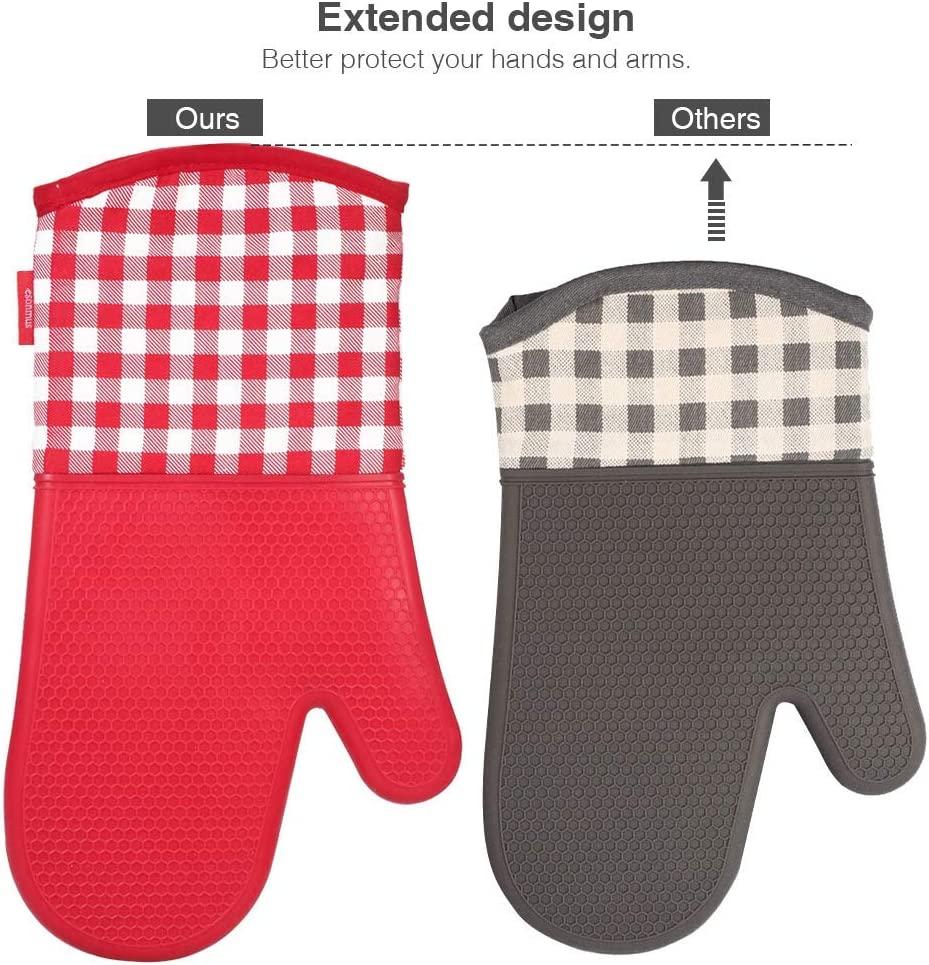 esonmus Heat Resistant Silicone Oven Gloves Non-Slip Oven Mitts 2 Cotton Pot Holders for Kitchen Cooking Baking Grilling Barbecue-Black Plaid /…