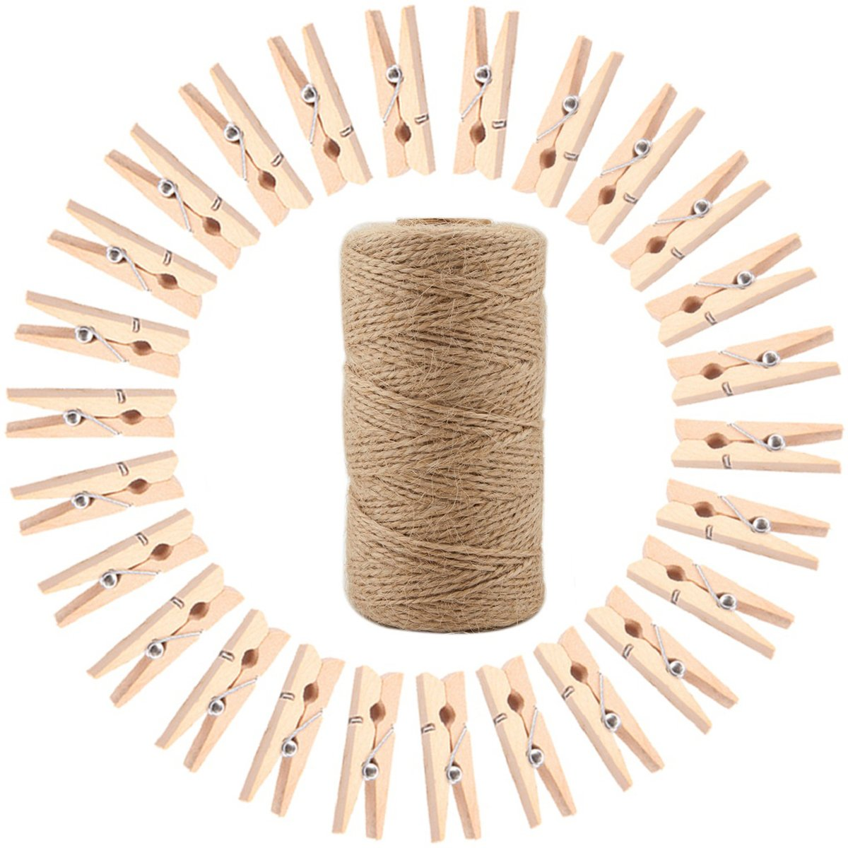 Omlopp 298 Feet 2mm Natural Jute Twine and Wooden Clothespins - Gift Wrap Twine String For Crafts, Picture Hanging Photo Display String With Clips (50)
