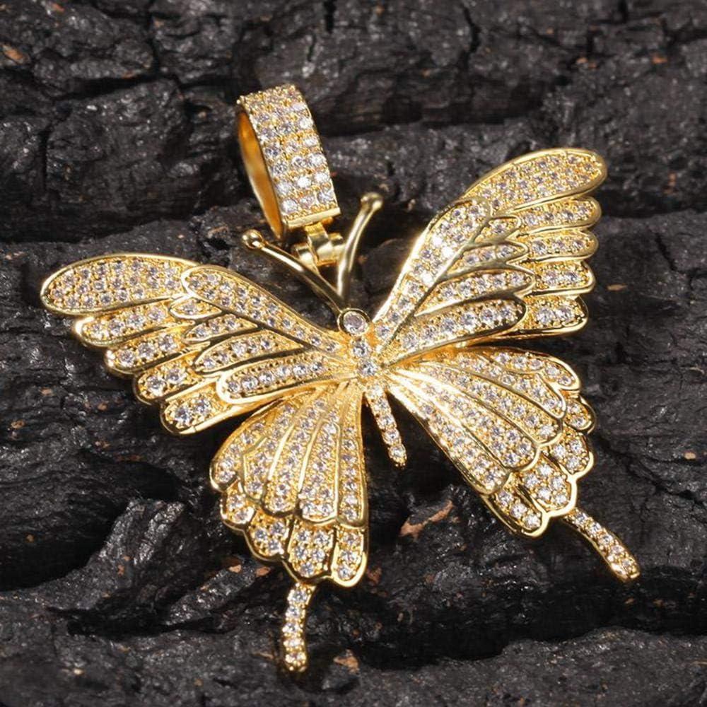ZYXCHNZK Necklace Pendant Tennis Chain Gold Silver Animal Butterfly Necklace Zircon Zircon Men Women Hip hop Rock Jewelry