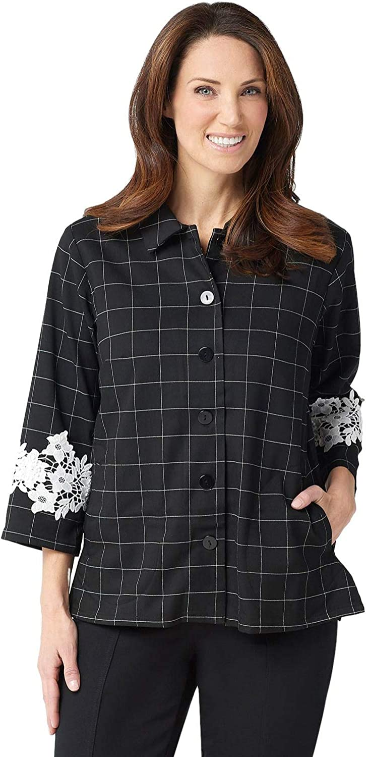 Linea by Louis Dell'Olio Womens Lace Applique Windowpane Jacket 14 Black A347439