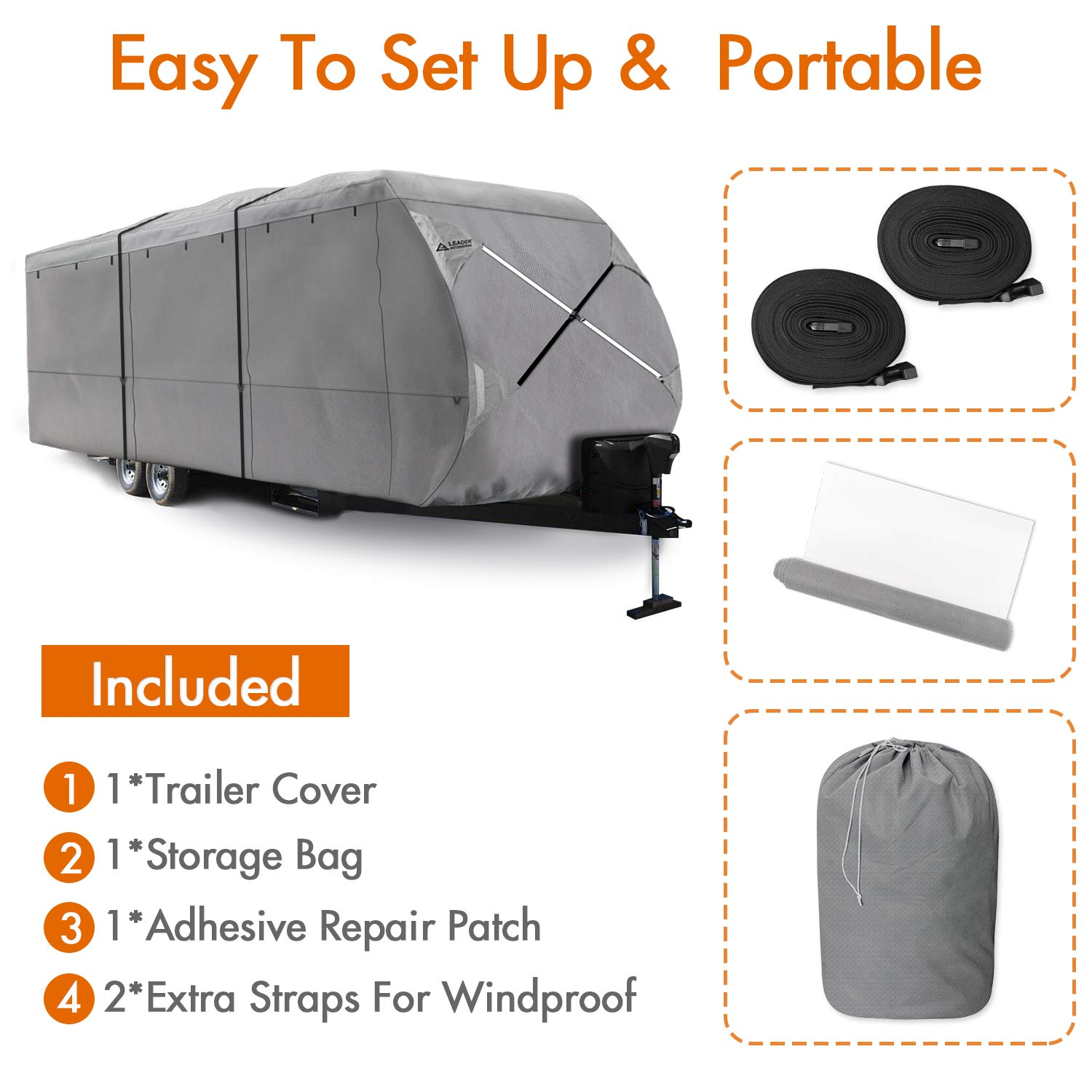 Leader Accessories Windproof Upgraded Travel Trailer RV Cover Fits 24-27 Camper 300D Top Premium Fabric