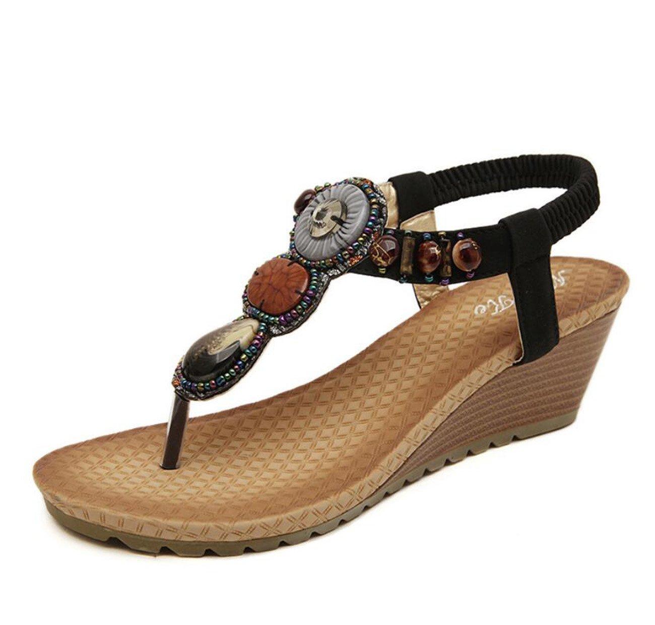 Damen Damen Sommer Sandalen Flip Flops Strass Plattform Keile Heels Schuhe Flip Flops fuuml;r Mauml;dchen ( Color : Black , Grouml;szlig;e : 42 )  42|Black