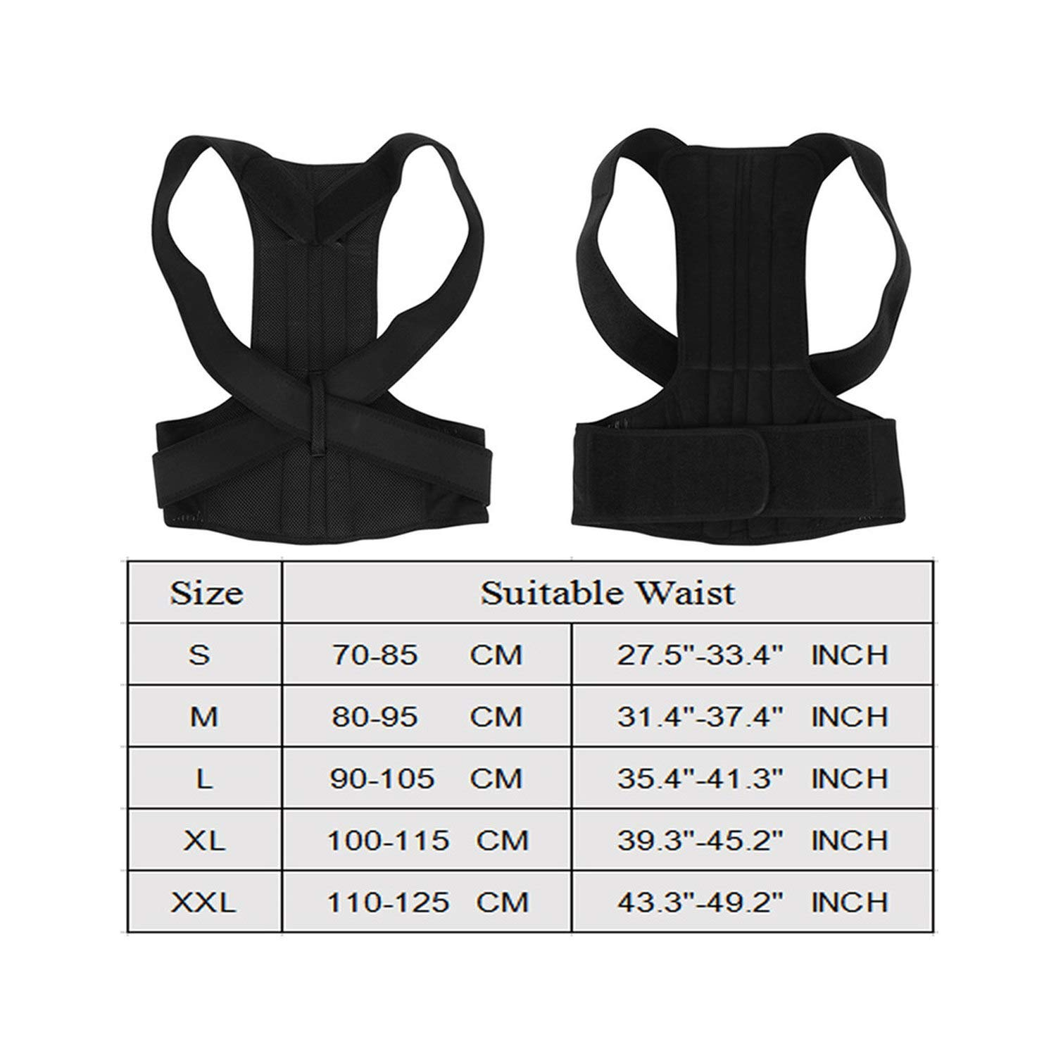 Adult Back Braces Therapy Posture Corrector Shoulder Bandage Orthopedic Lumbar Support Back Belt,Black,XXL