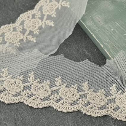 2f7f3636d Vintage Cotton Embroidered Lace Trim, 2-1/2 Inch by 2-Yards, Ivory, TR-10963