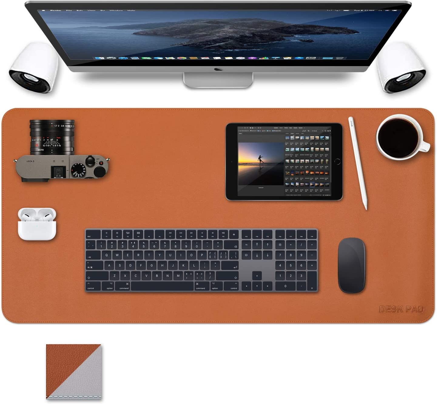 Office Desk Mats Pad Table Protector 35 X 17.7 Inch PU Leather Desk Blotters on Top of Desks Computer Laptop Keyboard Mouse Pad Organizer Double Side Desktop Cover Writing Mat for Girl Kids Brown/Gray